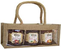 Jute 3 Bottle Gourmet Bag-Natural with Windows-GJ3MNATURAL