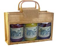 3 Bottle Jute Gourmet Bag -Natural-GJ3NATURAL