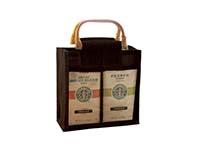 Jute 2 Compartment Coffee Bag - Black-GJC2BLACK