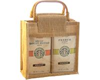 Jute 2 Compartment Coffee Bag - Natural-GJC2NATURAL
