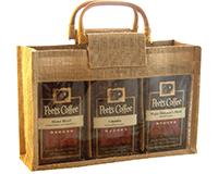 Jute 3 Compartment Coffee Bag - Natural-GJC3NATURAL