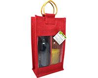 2 Bottle Jute  Bottle Bag - Red-J2RED