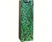 Kraft Single Wine Bag - Green Floral-K1GREENFLORAL