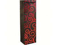 Kraft Single Wine Bag - Red Swirls-K1REDSWIRLS