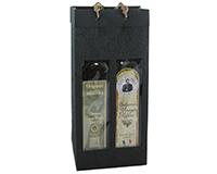 OB2 Black - Handmade Paper 2 Bottle Olive Oil Bags OB2BLACK