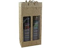 OB2 Natural - Handmade Paper 2 Bottle Olive Oil Bags OB2NATURAL