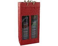 OB2 Red - Handmade Paper 2 Bottle Olive Oil Bags OB2RED