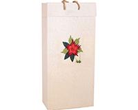 OB2 Red Flower - Handmade Paper 2 Bottle Olive Oil Bags OB2REDFLOWER