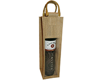 Jute Olive Oil Bottle Bag - Natural with Window-OJ1NATURAL