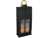 2 Bottle Jute Olive Oil Bottle Bag - Black with Windows-OJ2BLACK