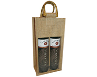 2 Bottle Jute Olive Oil Bottle Bag - Natural with Windows-OJ2NATURAL
