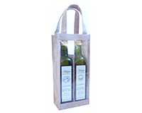 2 Bottle Jute Olive Oil Bottle Bag - Clear-OJ2NCLEAR