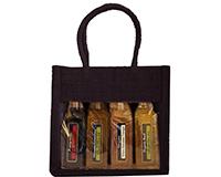 OJ4 Sampler Black - Jute 4 Sample Bottle Olive Oil Bags OJ4SAMPLERBLACK