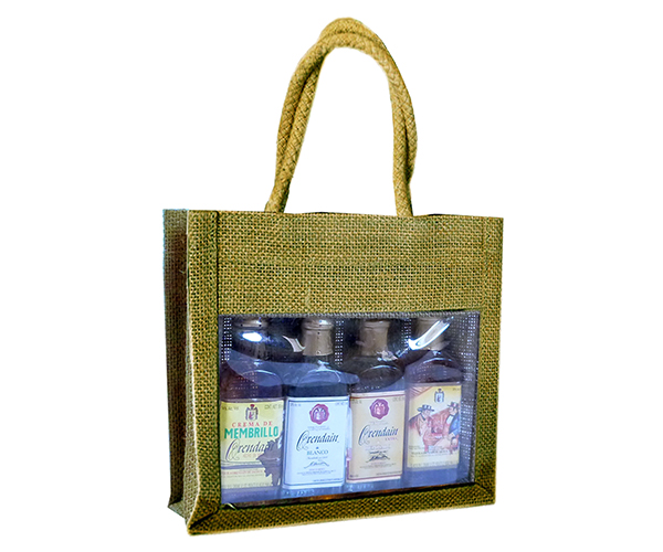 4 Bottle Jute Olive Oil Bottle Bag - Olive Sampler with Windows
