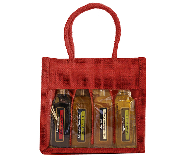OJ4 Sampler Red - Jute 4 Sample Bottle Olive Oil Bags OJ4SAMPLERRED