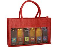 OJ6 Sampler Red - Jute 6 Sample Bottle Olive Oil Bags OJ6SAMPLERRED