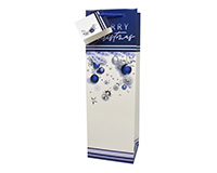 Printed Paper Wine Bottle Bag  - Blue Christmas-P1BLUECHRISTMAS