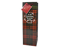 Printed Paper Wine Bottle Bag  - Christmas Flannel-P1FLANNEL