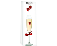 Printed Paper Wine Bottle Bag  - Floating Hearts-P1FLOATINGHEART