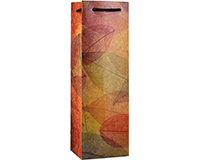 Printed Paper Wine Bottle Bag  - Leaves-P1LEAVES