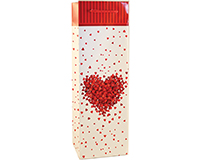 Printed Paper Wine Bottle Bag  - One Heart-P1ONEHEART