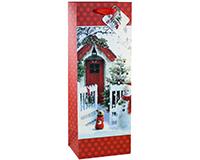 Printed Paper Wine Bottle Bag  - Red Door-P1REDDOOR