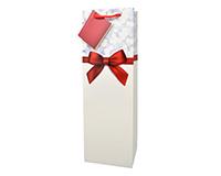 Printed Paper Wine Bottle Bag  - Red Ribbon-P1REDRIBBON