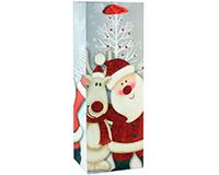 Printed Paper Wine Bottle Bag  - Santa-P1SANTA