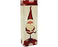 Printed Paper Wine Bottle Bag  - Santa Rules-P1SANTARULES