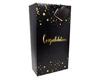 Black Congratulations 2 Bottle Wine Bag-P2BLACKCONGRATS
