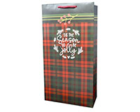 Christmas Flannel 2 Bottle Wine Bag P2FLANNEL