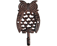 Owl Single Hook Cast Iron Antique Brown-BFBTT179