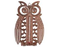 Owl Thermometer Cast Iron Antique Brown-BFBTT185