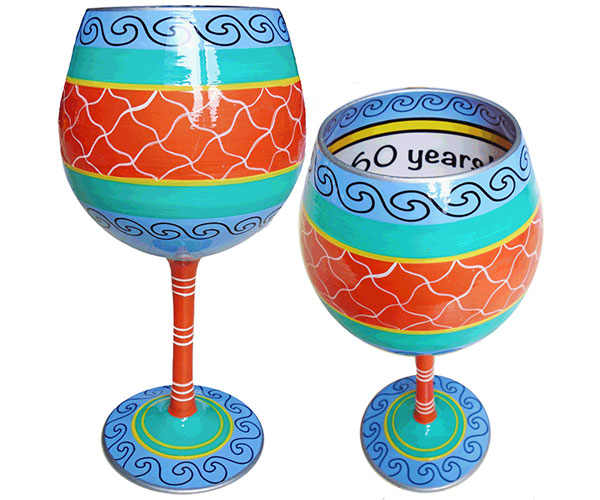 IB Wine Glass Cheers to 60 Years (IBWCHEERS60)