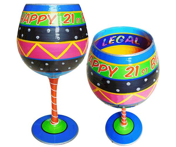 IB Wine Glass Happy Birthday 21 (IBWHAPPY21)