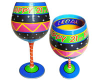 IB Wine Glass Happy Birthday 21-IBWHAPPY21