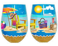 Stemless Wine Glass Beachy Fun Bottom's Up SLBEACHYFUN