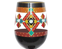 Stemless Wine Glass Black Southwest Bottom's Up-SLBlackSW