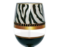 Stemless Wine Glass Deco Zebra Bottom's Up SLDECOZEBRA