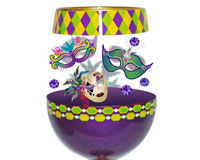 Stemless Wine Glass Mardi Gras Deux Bottom's Up SLMARDIGRASDEUX