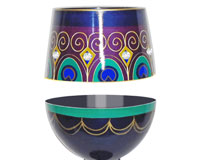 Stemless Wine Glass Peacock Bottom's Up-SLPEACOCK
