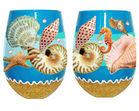 Stemless Wine Glass Seashore Bottom's Up SLSEASHORE