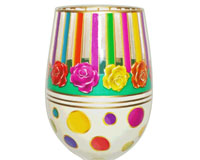Stemless Wine Glass Stripes Bottom's Up SLSTRIPES