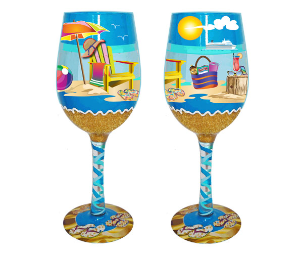 Wine Glass Beachy Fun Bottom