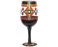 Wine Glass Black Southwest Bottom's Up WGBlackSW