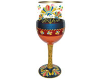 Wine Glass Deco Floral Bottom's Up WGDECOFLORAL