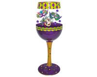 Wine Glass Mardi Gras Deux Bottom's Up WGMARDIGRASDEUX