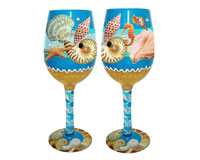 Wine Glass Seashore Bottom's Up WGSEASHORE