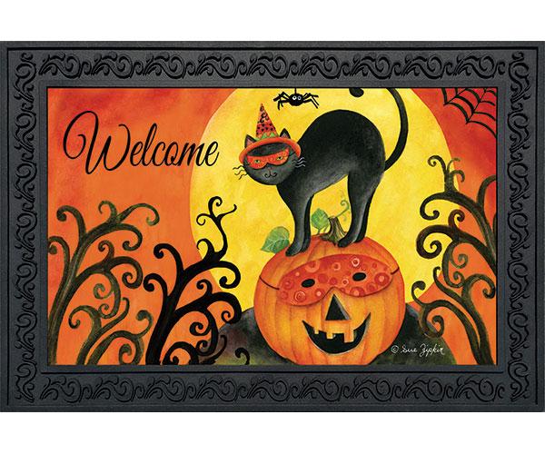 Black Cat Halloween Doormat