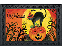 Black Cat Halloween Doormat-BLD00489